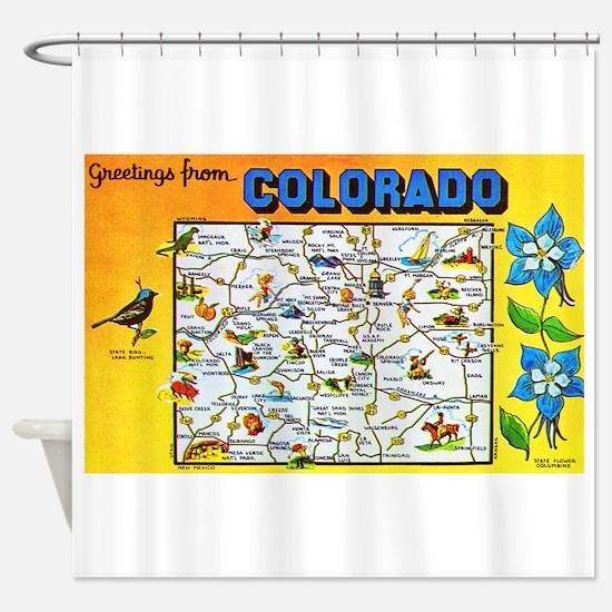 Colorado Map Greetings Shower Curtain
