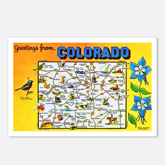 Colorado Map Greetings Postcards (Package of 8)