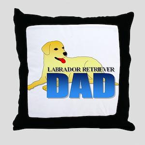 Yellow Labrador Retriever Dad Throw Pillow