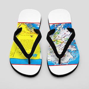 Alaska Map Greetings Flip Flops