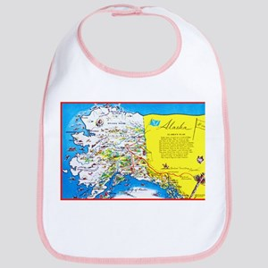 Alaska Map Greetings Bib