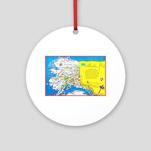 Alaska Map Greetings Ornament (Round)