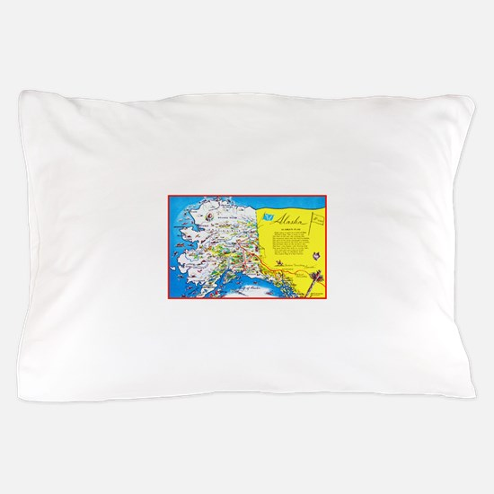 Alaska Map Greetings Pillow Case