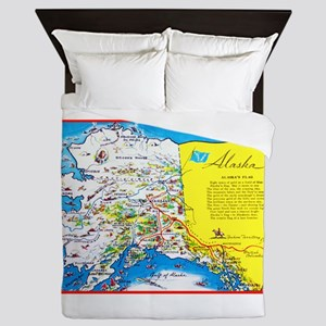Alaska Map Greetings Queen Duvet
