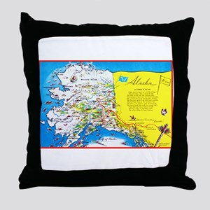 Alaska Map Greetings Throw Pillow