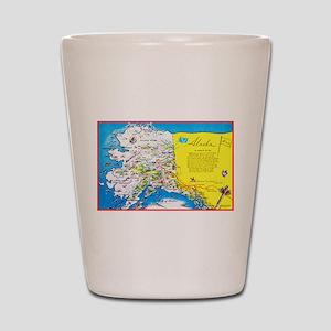 Alaska Map Greetings Shot Glass