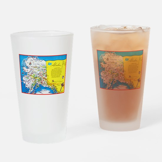 Alaska Map Greetings Drinking Glass