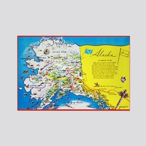 Alaska Map Greetings Rectangle Magnet