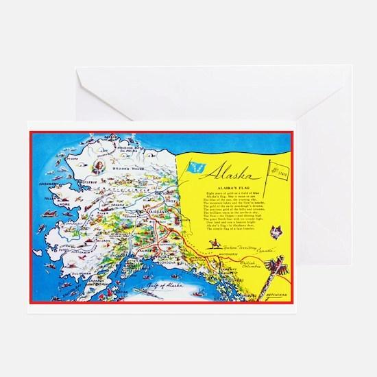 Alaska Map Greetings Greeting Card