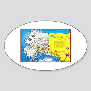 Alaska Map Greetings Sticker (Oval)