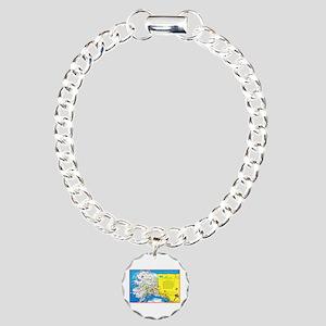 Alaska Map Greetings Charm Bracelet, One Charm