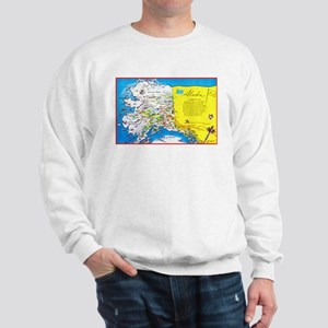 Alaska Map Greetings Sweatshirt