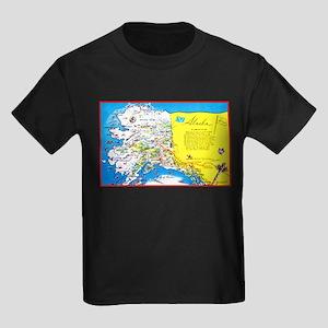 Alaska Map Greetings Kids Dark T-Shirt