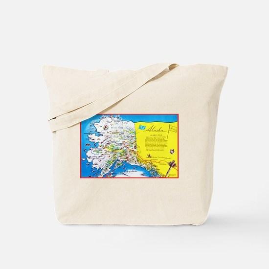 Alaska Map Greetings Tote Bag