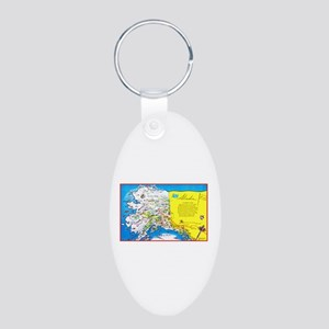 Alaska Map Greetings Aluminum Oval Keychain
