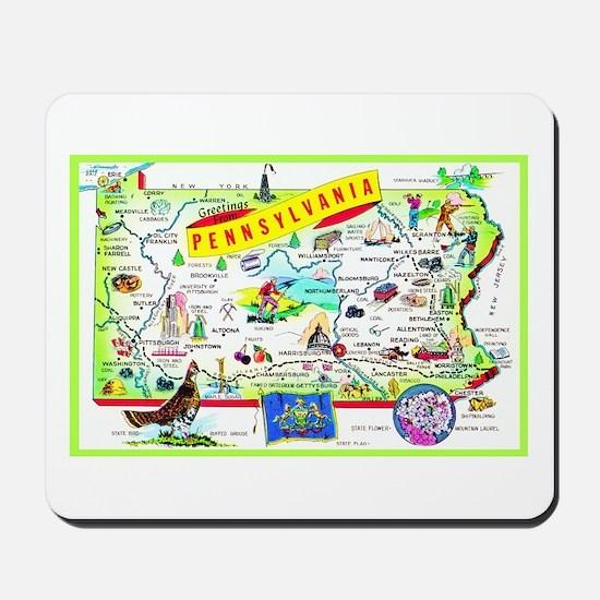 Pennsylvania Map Greetings Mousepad