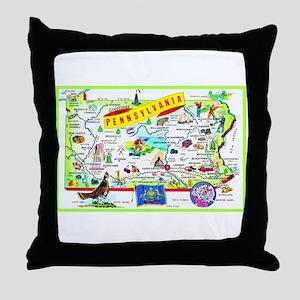 Pennsylvania Map Greetings Throw Pillow