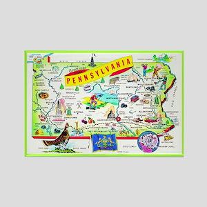Pennsylvania Map Greetings Rectangle Magnet