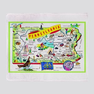 Pennsylvania Map Greetings Throw Blanket