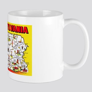 Pennsylvania Map Greetings Mug