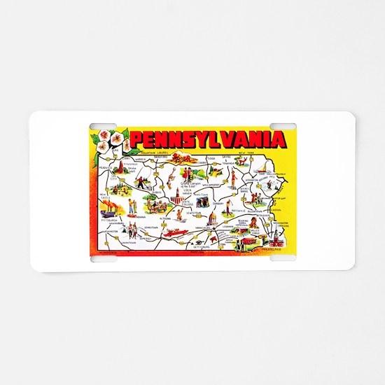 Pennsylvania Map Greetings Aluminum License Plate