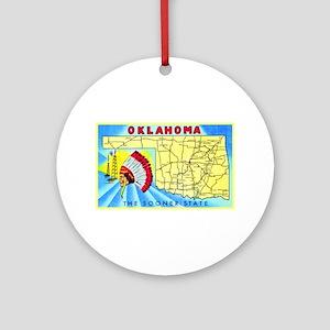 Oklahoma Map Greetings Ornament (Round)
