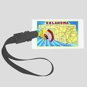 Oklahoma Map Greetings Large Luggage Tag