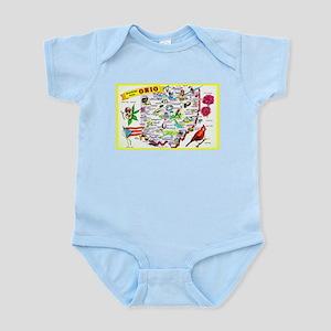 Ohio Map Greetings Infant Bodysuit