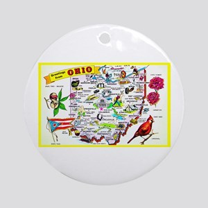 Ohio Map Greetings Ornament (Round)