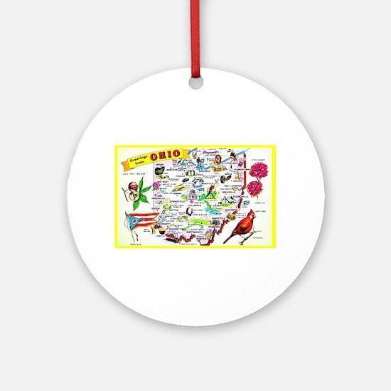 Ohio Map Greetings Ornament (Round)