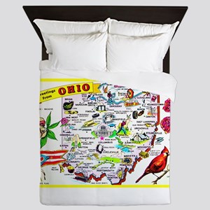Ohio Map Greetings Queen Duvet