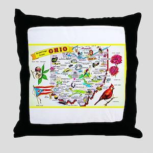 Ohio Map Greetings Throw Pillow