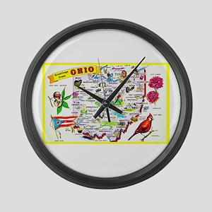 Ohio Map Greetings Large Wall Clock