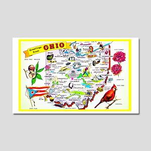 Ohio Map Greetings Car Magnet 20 x 12
