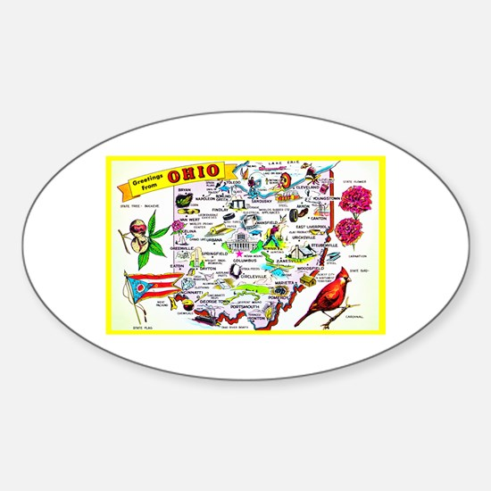Ohio Map Greetings Sticker (Oval)