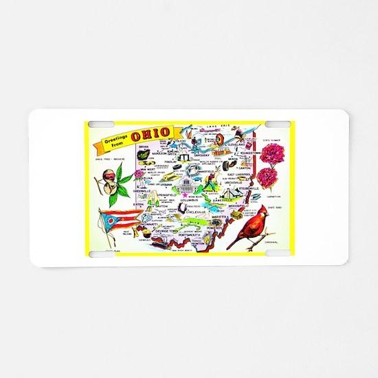 Ohio Map Greetings Aluminum License Plate