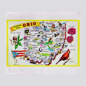 Ohio Map Greetings Throw Blanket