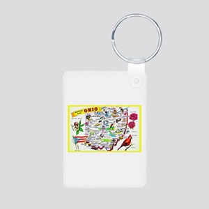 Ohio Map Greetings Aluminum Photo Keychain