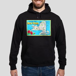 New York Map Greetings Hoodie (dark)