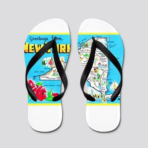 New York Map Greetings Flip Flops