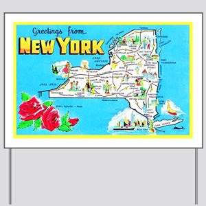 New York Map Greetings Yard Sign