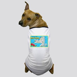 New York Map Greetings Dog T-Shirt