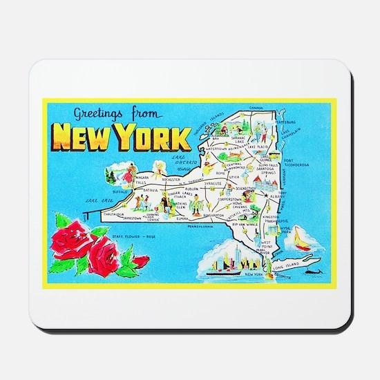 New York Map Greetings Mousepad