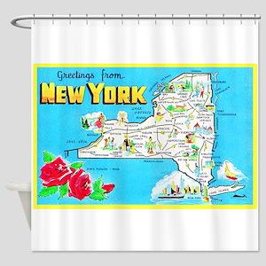 New York Map Greetings Shower Curtain