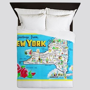 New York Map Greetings Queen Duvet