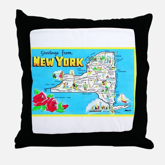 New York Map Greetings Throw Pillow