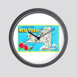 New York Map Greetings Wall Clock