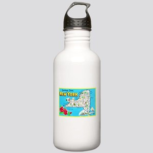 New York Map Greetings Stainless Water Bottle 1.0L