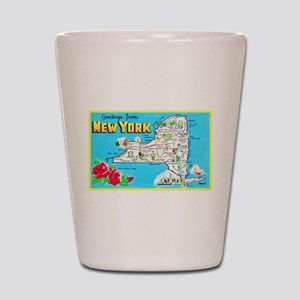 New York Map Greetings Shot Glass