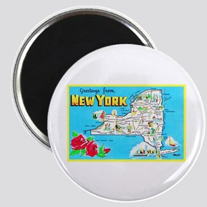 New York Map Greetings Magnet